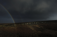Half rainbow over Hathersage moor. Peak District, Derbyshire, England, United Kingdom