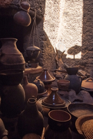 Moroccan pottery in market. Morocco