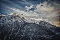 Ridge of snowy mountain landscape