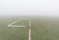 Football pitch on foggy morning. Northampton, England, United Kingdom
