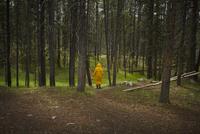 Figure wearing yellow raincoat in woodland. Italy