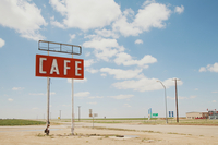 Red cafe sign on the roadside of Route 66. Texas, U.S.A