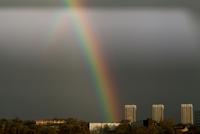 Rainbow and tower blocks. England, United Kingdom