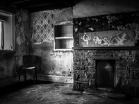 Interior of derelict farm. Yorkshire, England, United Kingdom