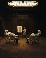 Doctors and nurses sitting and learning about anatomy
