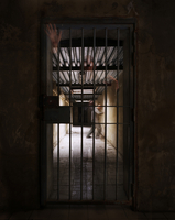 Prisoner behind a closed cell door