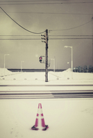 Snow covered road crossing