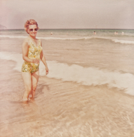 Vintage photograph of a woman at the beach in the sea
