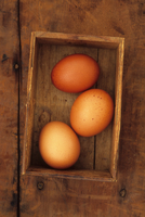Three eggs lying in old cardboard box on wooden table