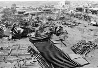 View from above over ship breakers yard. Alang, Gujarat, India