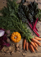 Still life of winter vegetables on wooden table. London, England, United Kingdom
