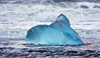 piece of ice on the beach