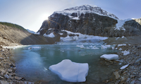 glacier, pond and mountain