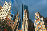 city, buildings reflectiong in the Cloud Gate 20074000357| 写真素材・ストックフォト・画像・イラスト素材|アマナイメージズ