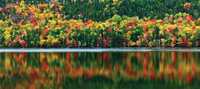 colorful autumn reflection in lake