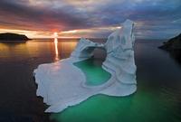iceberg, sunset