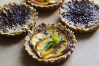 Vegan peach-mint and chocolate-pear tartelettes