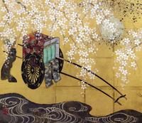 満月と桜と御所車 20084000010| 写真素材・ストックフォト・画像・イラスト素材|アマナイメージズ