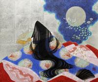 月と秋草と十二単の平安女人 20084000013| 写真素材・ストックフォト・画像・イラスト素材|アマナイメージズ