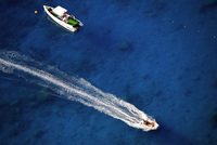 Boats in blue sea, Lycia, Antalya, Turkey, overhead view