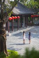 Women wearing traditional cheongsam dress in Kowloon Walled City, Kowloon, Hong Kong, China (MR) 20088004321| 写真素材・ストックフォト・画像・イラスト素材|アマナイメージズ