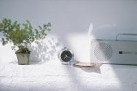 観葉植物と時計とラジカセ
