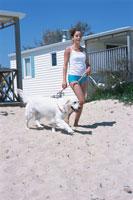 ビーチを散歩する女性と犬 21007005256| 写真素材・ストックフォト・画像・イラスト素材|アマナイメージズ