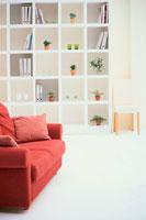 壁一面の棚と赤茶色のソファ