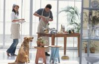 料理をするカップルと犬(ラブラドールレトリーバー) 21014001037| 写真素材・ストックフォト・画像・イラスト素材|アマナイメージズ