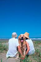 ビーチのカップルとゴールデンレトリーバー 21014001164| 写真素材・ストックフォト・画像・イラスト素材|アマナイメージズ
