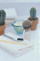 タオルの上にシェーバーと歯ブラシ、サボテン