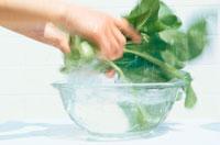 野菜を洗う手元