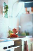 調理台のミニトマトや野菜