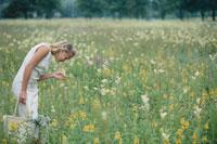 花畑の中の外国人女性 21022002023| 写真素材・ストックフォト・画像・イラスト素材|アマナイメージズ