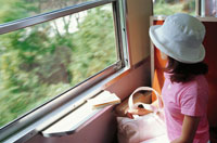 電車の車窓から景色を見る女性