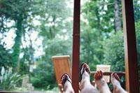 並んだ2人の裸足と窓の外のグリーン
