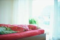 赤いベッドカバーと窓