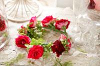 赤いバラのフラワーリース