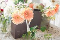 茶色い箱に生けたガーベラの花