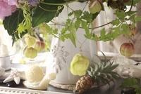 白い陶器の器に風船カズラと蝸牛のキャンドル