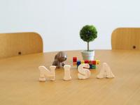 テーブルに置かれた積み木文字NISAとおもちゃ