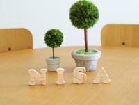 テーブルに置かれた積み木文字NISAとグリーン