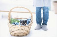 洗濯カゴと犬と女性 21028000099| 写真素材・ストックフォト・画像・イラスト素材|アマナイメージズ