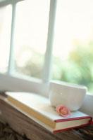 窓辺に置かれた本とベコニアの花