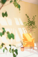 室内の黄色い一人掛けのソファ