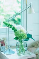 サイドテーブルのライトとグリーンの花