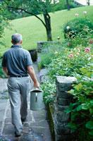 花に水をやる男性
