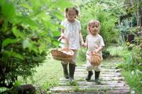 カゴを持って歩く姉妹 21086000354C| 写真素材・ストックフォト・画像・イラスト素材|アマナイメージズ