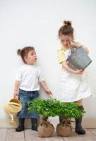 2本の苗木とハーフの姉妹 21086000706| 写真素材・ストックフォト・画像・イラスト素材|アマナイメージズ