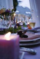 キャンドルとテーブルセット
